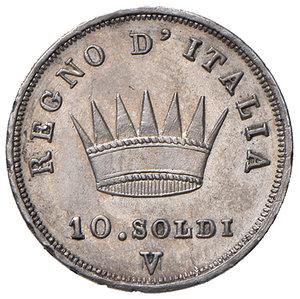Venezia. Napoleone I re d'Italia (1805-1814). Da 10 soldi 1812 (V su M) AG. Pagani 26a. Molto rara. Migliore di SPL