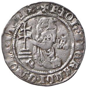 D/ Rodi. Juan Fernandez de Heredia (1376-1396). Gigliato AG gr. 3,85. Schlumberger T. X, 9 var (P sotto gli scalini della croce). MPS 25c. Ex Numismatica Picena listino 2/2009, 757. Debolezza di conio, altrimenti buon BB