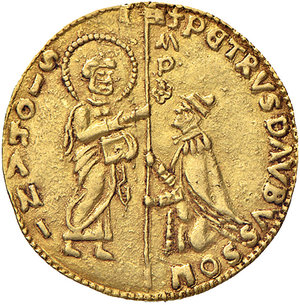 D/ Rodi. Pierre d'Aubusson (1476-1503). Zecchino AV gr. 3,46. Schlumberger T. XI, 1. MPS 42. Ex Numismatica Picena listino 3/2011, 771. Raro. SPL