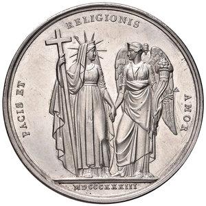 R/ Gregorio XVI (1831-1846). Medaglia anno III/1833 AG gr. 30,40 diam. 43 mm. Opus Giuseppe Girometti. Auspici di pace. Bartolotti E833. Colpetto sul bordo, più di SPL