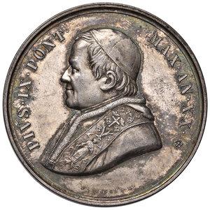 D/ Pio IX (1846-1878). Medaglia anno XX/1865 AG gr. 33,50 diam. 43,50 mm. Opus Ignazio Bianchi. Per l'erezione della colonna a S. Lorenzo fuori le mura. Bartolotti E865. Più di SPL