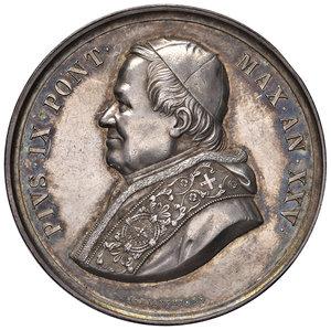 D/ Pio IX (1846-1878). Medaglia anno XXV/1870 AG gr. 31,37 diam. 43,50 mm. Opus Ignazio Bianchi. Ingresso al cimitero del Verano. Bartolotti E869. q.SPL/SPL