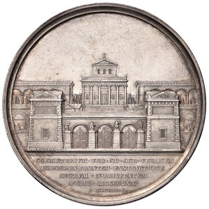 R/ Pio IX (1846-1878). Medaglia anno XXV/1870 AG gr. 31,37 diam. 43,50 mm. Opus Ignazio Bianchi. Ingresso al cimitero del Verano. Bartolotti E869. q.SPL/SPL