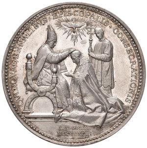 R/ Leone XIII (1878-1903). Medaglia anno XVI/1893 AG gr. 35,98 diam. 43,50 mm. Opus Francesco Bianchi. Per il 50° anniversario della consacrazione episcopale del pontefice. Bartolotti E893. q.FDC