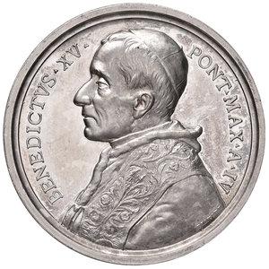 D/ Benedetto XV (1914-1922). Medaglia anno IV (1918) AG diam. 44 mm. Opus Francesco Bianchi. Per l'Istituto pontificio degli studi orientali. Bartolotti E918. FDC