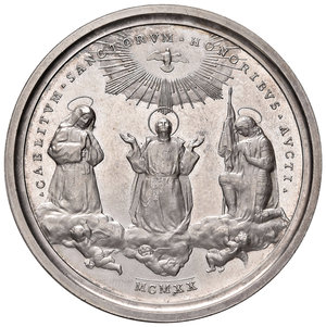 R/ Benedetto XV (1914-1922). Medaglia anno VI/1920 AG diam. 44 mm. Opus Aurelio Mistruzzi. Canonizzazioni del 1920. Bartolotti E920. FDC