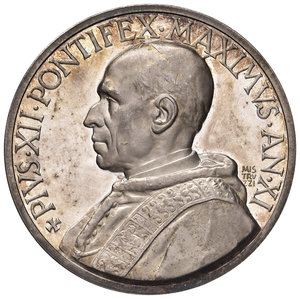 D/ Pio XII (1939-1958). Medaglia anno XI (1949) AG diam. 44 mm. Opus Aurelio Mistruzzi. Difesa delle fede cattolica. Bartolotti E949. FDC