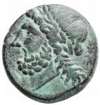 obverse: Mondo Greco - Apulia. Arpi.ca 325-250 a.C.Ae. D/ testa di Zeus a sinistra. R/ Cinghiale a destra, sopra lancia. HN Italy 642.Pesogr. 7,81. Diametro mm. 19,5 x 20,1. BB-qSPL.