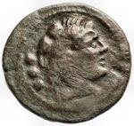 obverse: Repubblica Romana - Serie di ROMA in monogramma. 211-210 a.C.Quadrante. Ae. D/ Testa di Ercole con leonté a destra, dietro °°°. R/ Prua verso destra, sopra ROMA, davanti ROMA in monogramma; sotto °°°. Craw. 84/6; Syd. 190b. Peso gr. 6,58; Diametro mm. 23,5.qBB.Patina verde scura.NC.§