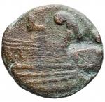 reverse: Repubblica Romana - Zecca Spagnola. ca. 200-100 a.C.Semisse. Ae.D/ Testa di Saturno a destra.R/ Prua a destra, sopra piede, sotto ROMA.Crawford AIIN29 1982.Pesogr. 8,43. Diametromm. 23,9. qBB.NC.