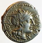 obverse: Repubblica Romana. Gens Fabia. Quintus Fabius Labeo. 124 a.C. Denario. Ag. D\ LABEO ROMA Testa di Roma a destra, davanti X. R\ Q.FABI (Quintus Fabius) Giove su quadriga verso destra, sotto un rostro di nave. Cr.273\1. Peso 3,90 gr. Diametro 19,00 mm.BB+.