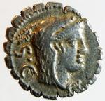 obverse: Repubblica Romana. Gens Procilia. Lucius Procilius. 80 a.C. Denario. Ag. D/ S.C. (Senatus Consulto). Testa di Giunone Sospita a destra. R/ L.PROCILI F. (Lucius Procilius, filius), Giunone Sospita su biga verso destra, regge lancia e scudo, ai piedi dei cavalli un dragone. Cr. 379/2. Peso 3,85 gr. Diametro 19,00 mm. BB+