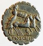 reverse: Repubblica Romana. Gens Procilia. Lucius Procilius. 80 a.C. Denario. Ag. D/ S.C. (Senatus Consulto). Testa di Giunone Sospita a destra. R/ L.PROCILI F. (Lucius Procilius, filius), Giunone Sospita su biga verso destra, regge lancia e scudo, ai piedi dei cavalli un dragone. Cr. 379/2. Peso 3,85 gr. Diametro 19,00 mm. BB+