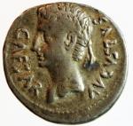 obverse: Impero Romano. Augusto. 27 a.C-14 d.C. Denario Suberato. Ag.Hispania, zecca incerta. D/ CAESAR AVGVSTVS. Testa nuda a sinistra. R/ SPQR. Vittoria vola a destra tenendo un ramoscello d olivo e pone la mano sinistra su scudo con iscrizione CL. V (Clipeus Virtutis). C.289. Peso gr. 3.21. Diametro mm. 18.00. qBB. Molto raro.RR.°°