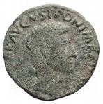 obverse: Impero Romano - Augusto.M. Salvius Otho.27 a.C - 14 d.C.Asse. AE.Coniato nel 7 a.C. D/ Testa nuda a destra. R/ Leggenda intorno a S C. Peso gr. 8,59. Diametro mm. 26,6.BB+. Patina verde.