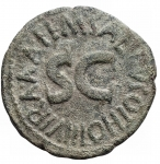 reverse: Impero Romano - Augusto.M. Salvius Otho.27 a.C - 14 d.C.Asse. AE.Coniato nel 7 a.C. D/ Testa nuda a destra. R/ Leggenda intorno a S C. Peso gr. 8,59. Diametro mm. 26,6.BB+. Patina verde.