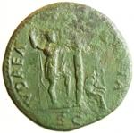 reverse: Impero Romano. Vespasiano. 69-79 d.C. Sesterzio. AE. Roma. 71 d.C. D/ IMP CAES VESPASIAN AVG P M TR P P P COS III, Testa laureata a destra. R/ IVDAEA CAPTA, albero di palma, a sinistra Vespasiano stante volto a destra con lancia e parazonium; a destra la Giudea dolorante; in ex. S C. RIC I 427 = II 167; C 239. Peso gr. 24,07. Diametro mm. 33,7 x 32,8. qBB.