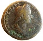 obverse: Impero Romano. Sabina. Adriano, 117-138 d.C. Sesterzio. AE. Roma. 128-136 d.C. D\ SABINA AVGVSTA - HADRIANI AVG P P, Busto drappeggiato a destra, capelli trattenuti da un diadema decorato da spighe ed annodati in una lunga coda. R\ CONCOR - DIA AVG, Concordia seduta verso sinistra, tiene la patera e si appoggia alla statua di Spes, sotto la sedia una cornucopia; in ex. S C. RIC 1025; C 21.Diametro 34,00 mm.BB.°° ex asta Francoforte 138, lotto 215. maggio 1992.