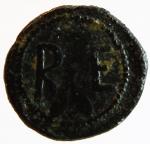 reverse: Mondo Greco. Bruttium. Rhegium. 425-400 a.C. AE. D/ Testa di leone di fronte. R/ RE. Al centro foglie di ulivo. BMC 40. Peso gr. 1.34. Diametro mm. 12. Bel BB+. R.^
