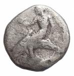 obverse: Mondo Greco - Calabria. Tarentum. ca 460-443 a.C.Nomos. Ag.