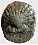 obverse: Mondo Greco. Calabria. Taranto. 380-334 a.C. Emiobolo. Ag. D/ Conchiglia. R/ Delfino a destra, sopra clava, sotto ΔΑ. Vlasto 1575. Peso 0.71 gr. Diametro 10,26 mm. BB. R.