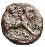 reverse: Mondo greco - Campania. Neapolis. ca 300-275 a.C. Æ. D/ Testa laureata di Apollo a sinistra. R/ Toro che cammina a destra, sopra kantharos sopra. Rif HN Italia 582. Diametro 15,4 x 16,1 mm. Peso 2,86 gr.MB-qBB. Patina marrone verde. R.