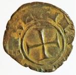 obverse: Zecche Italiane. Brindisi o Messina. Corrado II. 1254-1258. Denaro. MI. D/ CVR. R/ Croce. Sp. 173. Peso gr. 0,85. Diametro mm. 15,00. qBB.§
