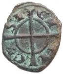 reverse: Zecche Italiane - Brindisi o Messina. Manfredi. 1258-1266. Denaro. Mi. D/ Gran MA sotto y. R/ Croce. Sp. 200. Peso gr. 0,55. MI. BB+.