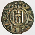 reverse: Zecche Italiane. Genova. Repubblica. 1139-1339. Denaro a nome di Corrado. Ag. MIR 16. Peso gr. 0.70. Diametro mm. 15,00. BB+. s.v