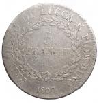 reverse: Zecche Italiane -Lucca e Piombino.Elisa Bonaparte e Felice Baciocchi. 1805-1814.5 franchi 1807.AG.Pag. 253.MB+.R.