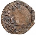 obverse: Zecche Italiane - Novellara. Alfonso II Gonzaga. 1650-1678. Quattrino tipo Lucca. Ae. Peso gr 0,84. qBB. Patina cuoio.