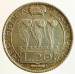 reverse: Zecche Italiane. San Marino. 20 lire 1931. AG. Pag. 342. Bello SPL. Patina. s.v.