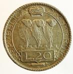 obverse: Zecche Italiane. San Marino. 20 lire 1935. Ag. Gig. 5. SPL. Patinata. s.v.
