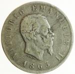 obverse: Casa Savoia. Vittorio Emanuele II. 1861-1878. 2 lire 1863 Napoli. AG. Pag. 508. Mont. 198. MB+. NC.w