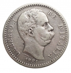 obverse: Casa Savoia - Umberto I. 1878-1900. 2 Lire 1881. Ag. BB.