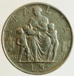 obverse: Casa Savoia. Vittorio Emanuele III. 1900-1943. 5 lire 1937. AG. Pag. 720. Mont. 134. Ottimo qSPL. R.