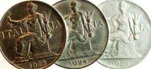 obverse: Casa Savoia. Lotto di 3 monete da 1 lira 1922\24\28. Buone conservazione.