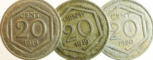 obverse: Casa Savoia.Lotto di 3 monete da 20 centisimi 1919\20. Mediamente BB.