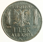 obverse: Casa Savoia. Vittorio Emanuele III. Albania. 1 Lek 1939. Ac.qSPL.