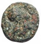 obverse: Mondo Greco - Lucania. Metaponto. ca 275-250 a.C. Ae. D/ Testa di Athena a destra con elmo corinzio. R/ Tre grani. HNItaly 1699. Peso gr. 1,66. Diametro mm. 12,8 x 13,4.qBB.