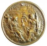 reverse: Medaglie. Parma. Francesco Farnese. 1694-1727. La Giustizia e la Religione davanti ad un tempio. Hamerani. Diametro 51,00 mm.SPL.Forellino.