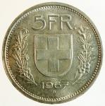 obverse: Monete Estere. Svizzera.5 Franchi 1967. Ag.Peso 15,00 gr.qFDC.