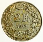 obverse: Monete Estere. Svizzera. 2 Franchi 1939. Ag. Peso 10,00 gr. qSPL. Patina.