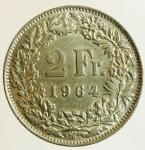 obverse: Monete Estere. Svizzera. 2 Franchi 1964. Ag. Peso 10,00 gr. SPL.