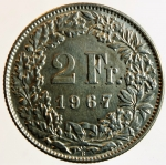 obverse: Monete Estere. Svizzera. 2 franchi 1967. Ag. SPL