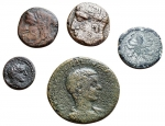 obverse: Lotti - Mondo Greco e Romano insieme di 5 esemplari Illyria Ballaios gr 2,95 Panormos Demetra gr 1,99 Rare Syracuse Octopus gr 3,39 Gela Onkia gr 1,01 Rare Diadumedian As gr 7,89 Rare