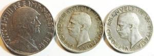 obverse: Lotti. Casa Savoia.Vittorio Emanuele III.Lotto di 3 monete. Mediamente BB.w