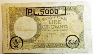 obverse: Cartamoneta. Regno d Italia. Vittorio Emanuele III. 50 lire Lupa. Timbrata. Lire 5000. 5 Giugno 1944 CLL (Comitato Liberazione Liguria). MB.s.V