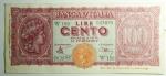 obverse: Cartamoneta. Luogotenenza. 100 Lire Italia Turrita. Serie W 150 063895. BB+\BB.RR.s.v.