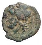 reverse: Mondo Greco - Apulia. Arpi. ca325-275 a.C.Ae.D/ Testa di Zeus a sinistra. R/ Mezzo cinghiale a destra, sopra lancia. Peso gr. 3,64. Diametro mm. 15,05 x 15,6.HN Italy 643.BB. R.